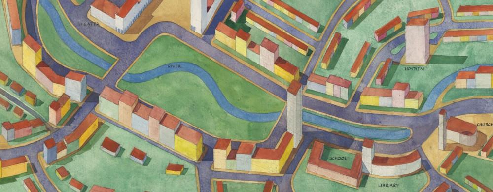 Akvarell över en stadsplan