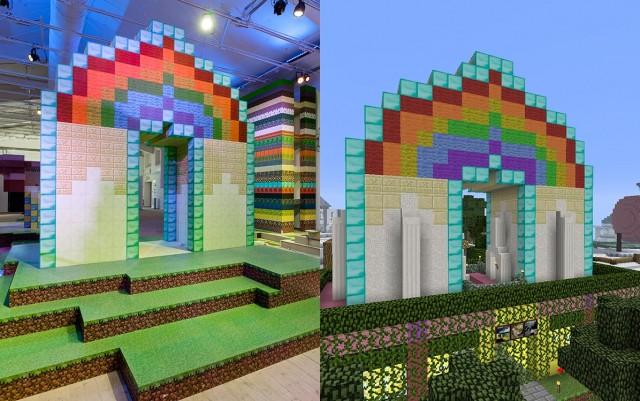 Hus i Minecraftblock i verkligheten och digitalt. Foto: Matti Östling / ArkDes
