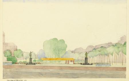 Kungsträdgården in Stockholm. Aquarelle sketch by Josef Frank. ArkDes collections.