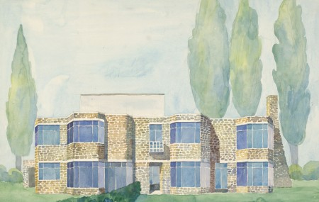 Aquarelle of houses, series of six. 1950s.