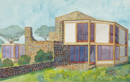 Aquarelle of triple houses ArkDes collections, 1950s.