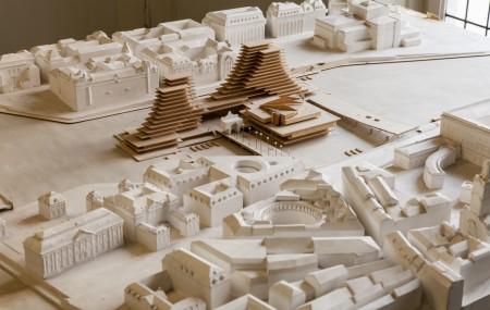 Léonie Geisendorfs tävlingsförslag för nybyggnad av Riksdagshuset i Stockholm 1971. Foto: Matti Östling / ArkDes