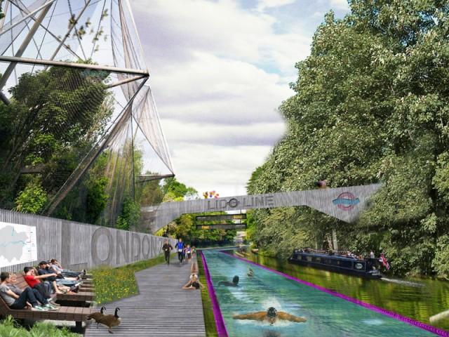 Lido Line, London – simma till jobbet. Det är trångt i Londons gatutrafik under rusningstimmarna. Finns det hälsosamma outnyttjade resurser som kan upptäckas? Studio Alex Smith och David Lomax från UK, Y/N Studio vill att simning ska kunna bli ett alternativ till att cykla eller gå till jobbet. Lido Line är ett idéprojekt där kanalen Regents Canal i London används så att boende ska kunna simma till arbetet.