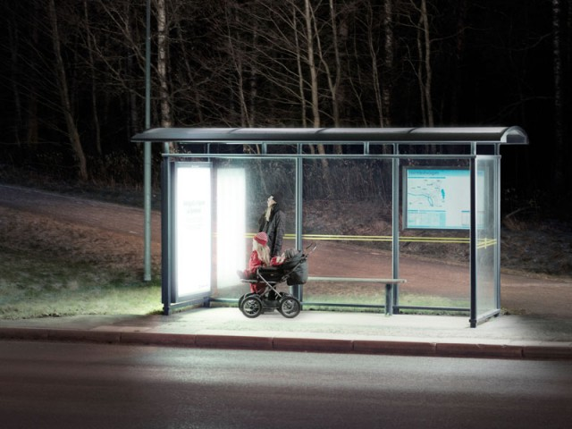 Light therapy while waiting for the bus. People's well-being and health are dependent on light, even during the dark months of the year. Umeå Energi offered light therapy from special fluorescent lamps in 30 bus shelters around the city. Fluorescent lamps were installed at one end of the bus shelter, where there are usually advertisements. The ultraviolet light was filtered out and no sunburn was created, in other words it was harmless. The brightness was equivalent to a cloudy summer day.