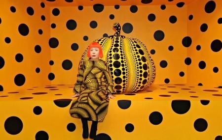 Yayoi Kusama, Kusama with Pumpkin, 2010 © Yayoi Kusama Installation View: Aichi Triennale 2010. Courtesy Ota Fine Arts, Tokyo/ Singapore; Victoria Miro Gallery, London; David Zwirner, New York; and KUSAMA Enterprise