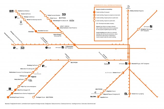 Staden är deras. Arkitekt- och konstnärsgruppen MDGH (Mot den globala hemlösheten) har kartlagt vilka som äger de centrumanläggningar som ligger utmed tunnelbanans linjer.