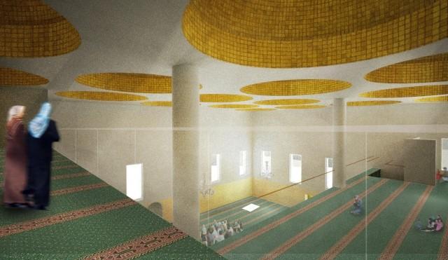 Moskén mitt i byn. En ny moské med 18 kupoler ska byggas i Rinkeby. Foto: Johan Celsing Arkitektkontor