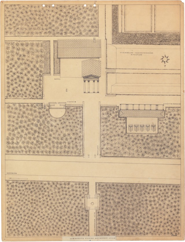 Chapel of the Resurrection at the Woodland Cemetery (1925). Sigurd Lewerentz. ArkDes Collections.