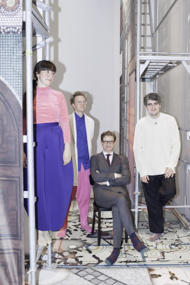 From left: Lara Lesmes and Fredrik Hellberg (Space Popular), Kieran Long (Director, ArkDes) James Taylor-Foster (Curator). Photo: Viktoria Spasova