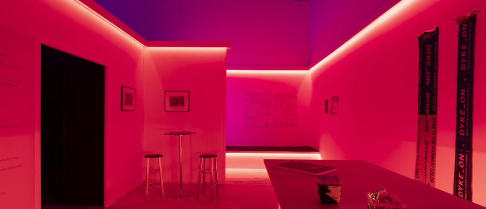 The Bar. 'Cruising Pavilion: Architecture, Gay Sex and Cruising Culture' in Boxen at ArkDes. Photo: Johan Dehlin