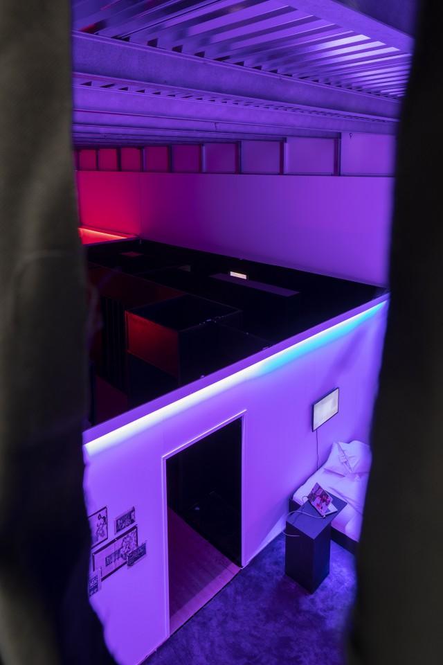 Titthål. 'Cruising Pavilion: Arkitektur, gaysex och cruisingkultur' i Boxen på ArkDes. Foto: Johan Dehlin