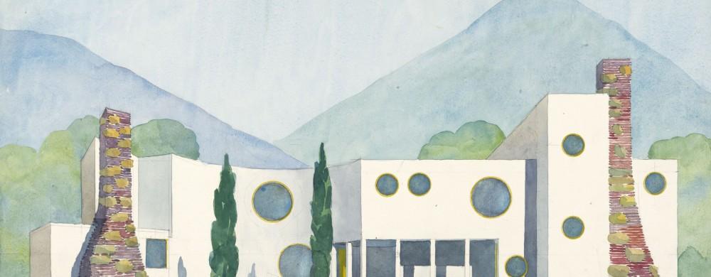 Josef Franks skiss på ett av sina fantasihus som tillägnades älskarinnan Dagmar Grill.