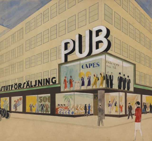 Proposal for the extension of the PUB department store, pencil and watercolor on trace, ca. 1932.