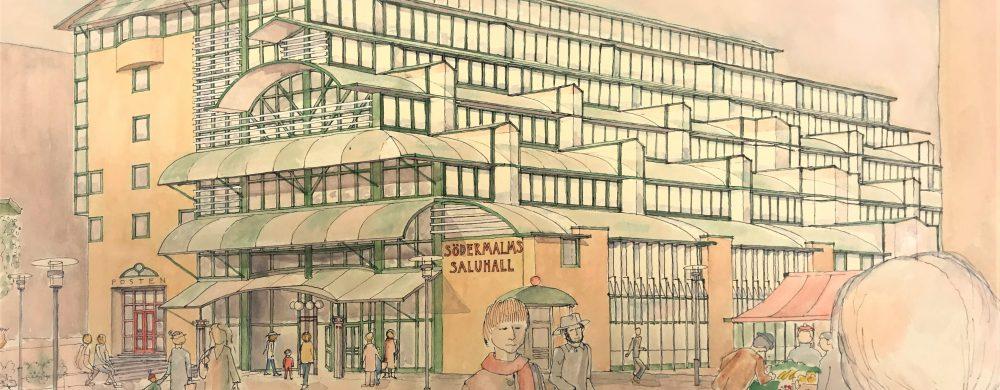 Söderhallarna i Stockholm, invigd 1992. Arkitekt: Bo Kjessel.